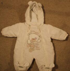 Newborn Cream Unisex Snowsuit Baby
