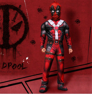 Deadpool Cosplay Costume Suits For Kids Halloween Boys Party jumpsuits