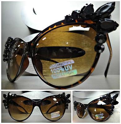 CLASSIC VINTAGE RETRO 60s CAT EYE Style SUNGLASSES Tortoise Frame Black Crystals