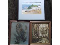 Three vintage framed paintings/artwork – £15 the lot - quick sale needed