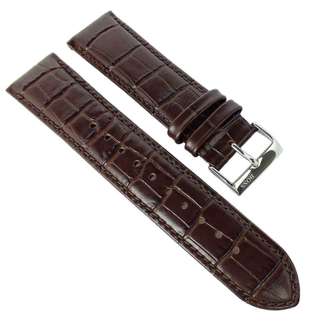 Hugo Boss Ersatzband Uhrenarmband 22mm Leder Band braun Krokoprägung 1513021
