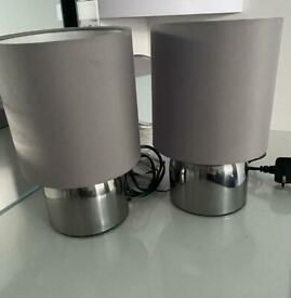 Pair of grey touch table lamps