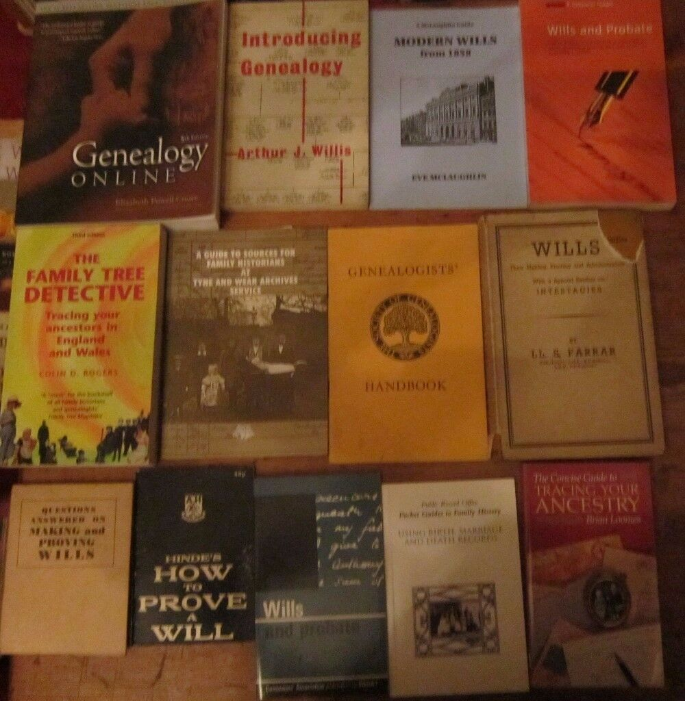 Box of books about family history / genealogy