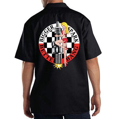 Dickies Black Mechanic Work Shirt Bigger Spark Better Bang Pin Up