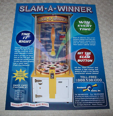 BENCHMARK SLAM A WINNER ARCADE GAME FLYER BROCHURE