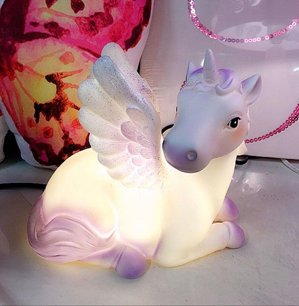 UNICORN TABLE LED LAMP GLITTER WINGS DECOR CHILDREN KIDS GIRLS ...