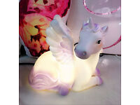 UNICORN TABLE LED LAMP GLITTER WINGS DECOR CHILDREN KIDS GIRLS BEDROOM GIFT NEW