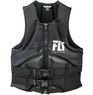 Mens NEOPRENE Life Jacket Fly Racing Safety Vest Full Zip with Buckles Black New Black Mens Life Vest