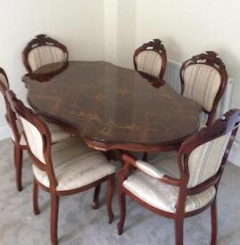 Dining Table - Italian inlays - Carver Chairs