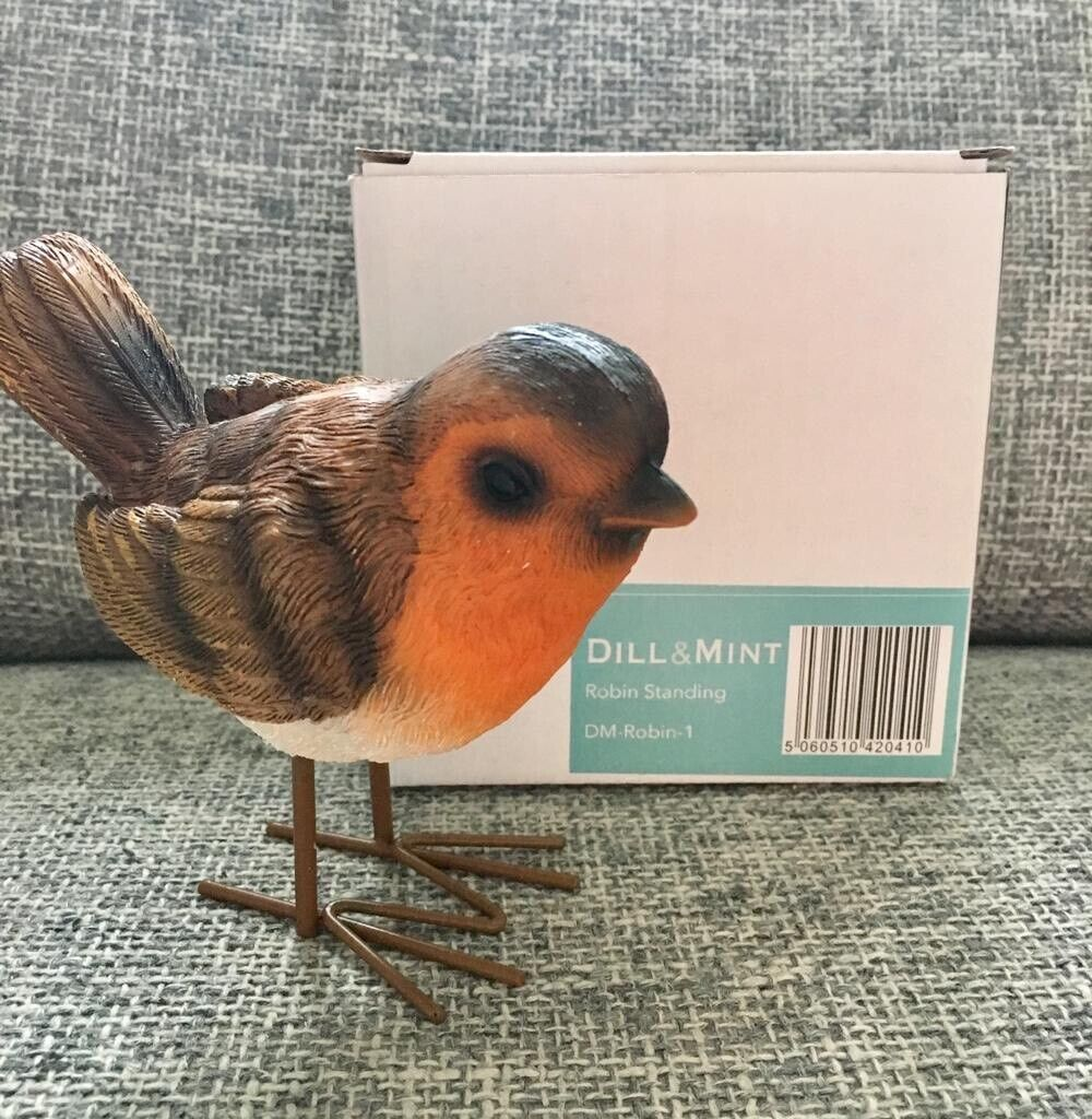design ideal for inside or outside use dill and mint Standing robin ornament