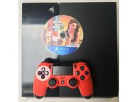 SONY PLAYSTATION 4 PS4 500GB & RED CONTROLLER PAD & GTA 5 GRAND THEFT AUTO 5 GAME