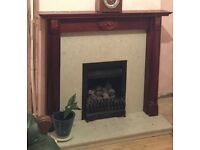 Fireplace with marble and wood surround - already removed and ready for collection