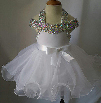 Halter Beaded Infant/toddler/baby/children/kids Glitz Baby Doll Pageant (Baby Doll Pageant Dress)