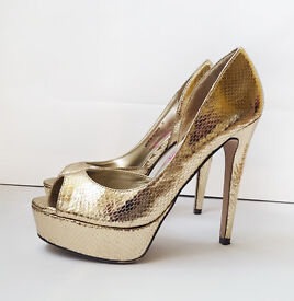 Lipsy Gold Snakeskin Stiletto Peep Toe Ladies Shoes UK Size 5 RRP £70