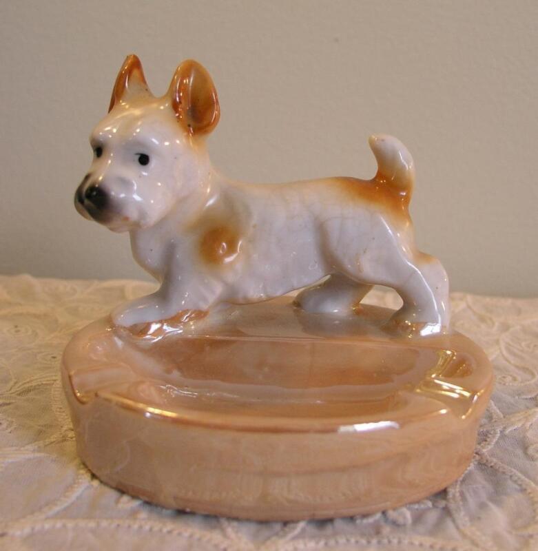 Izumi Nippon Made In Japan Porcelain Dog Figurine Ashtray Lustreware Finish