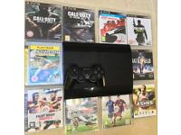 SONY PLAYSTATION PS3 SUPER SLIM 500GB & 10 GAMES CALL OF DUTY BLACK OPS GHOSTS MW3 N4S BATTLEFIELD