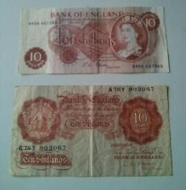 2x old 10/= notes