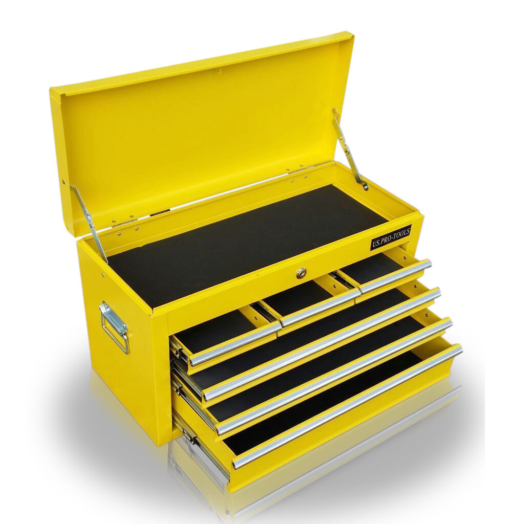 203 us pro tools original yellow storage chest tool box. Black Bedroom Furniture Sets. Home Design Ideas