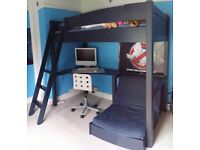 High sleeper cabin bed with desk and futon chair
