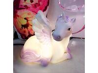 UNICORN TABLE LED LAMP GLITTER WINGS DECOR CHILDREN KIDS GIRLS BEDROOM GIFT