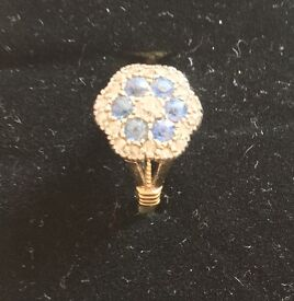 Victorian 18ct gold Diamond & Saphire cluster Ring