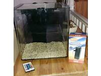 25lite Fish Tank with Brand New Filter and LED remote control colour changing lights