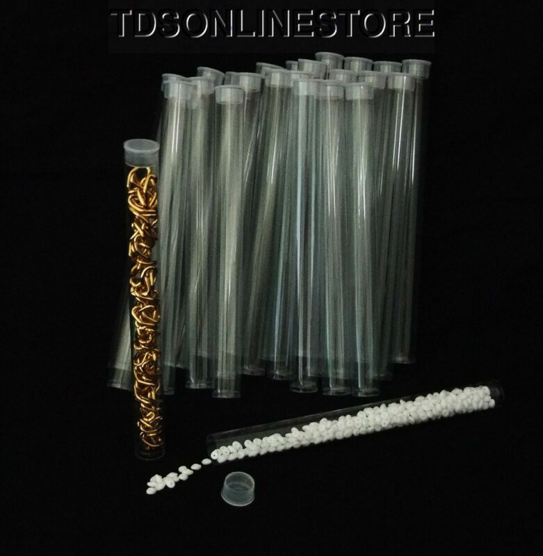 """Pack of 25 Round Clear Plastic Storage Tubes 6"""""""