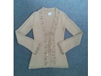 NEXT size XS Sand colour cardigan with embellishments