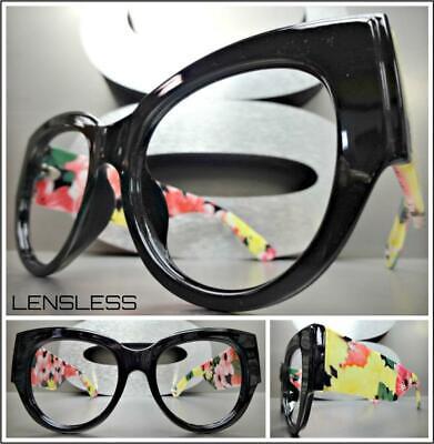 Übergröße Übertriebener Blumenmuster Cat Eye Glasloses Brillen Rahmen nur Kein