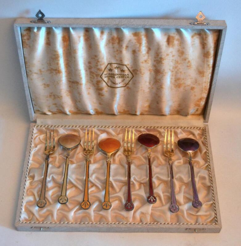 Vintage David Andersen Norway Sterling Silver and Enamel Fork and Spoon Set