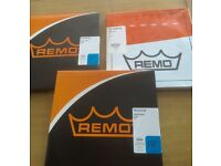 "3 Remo drum heads (2x 8"" & 1x 10"") as new"