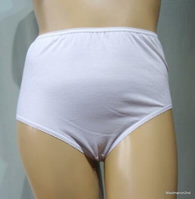VINTAGE STYLE SOFT WHITE COTTON KNICKERS PANTIES XL UK 24/26 - NWOT