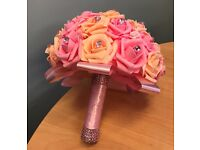 Custom Hand Made Artificial Peach and Pink Rose Bridal Wedding Bouquet
