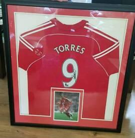 Fernando Torres Signed Liverpool Framed