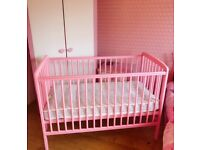 Baby pink cot with Mattess and Free musical mobile £50 Hardly used