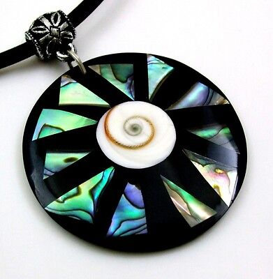 Natural Mosaic Paua Abalone Shell Pendant Bead Cord Necklace Women Jewelry DA310