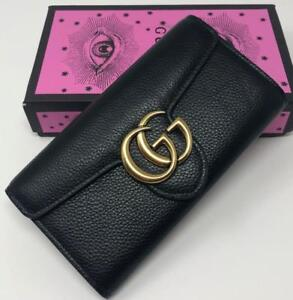 Gucci Long Real Black Leather Flap Wallet ( More Styles Available)