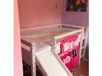 Thuka midsleeper bed with slide and pink canopy