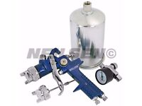 HVLP Gravity Feed Air Paint Sprayer with 1.4 mm & 2 mm Nozzles & Regulator