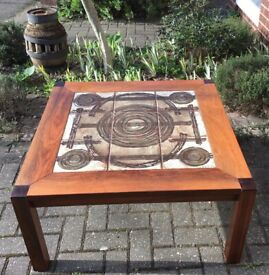VINTAGE OX ART COFFEE TABLE BY TRIOH, 1970s DANISH MID CENTURY DESIGN, NEAR PERFECT TILE TOP