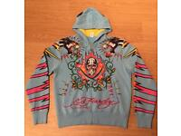 """Brand new vintage Ed Hardy """"Lucky 13 Panther"""" Large sky blue hoodie. Screen printed design"""