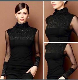 Women's turtleneck stud long mesh sleeves top