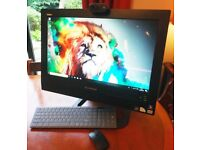 LENOVO ThinkCentre ALL IN ONE 20inch WINDOWS 10 PC with Logitech Webcam & Wireless Keyboard & Mouse.