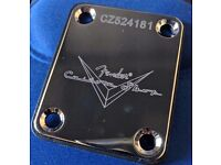 Guitar Neck Plate, Fender Logo, Custom Shop