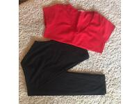 Red Wallis top & black H&M leggings. Size 16. £5