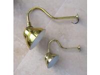 2 x Brass Swan Neck Sign Lights for Cafe / Shop Light Exterior Light Outdoor