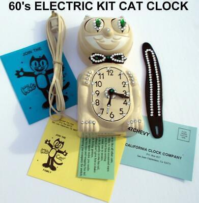 60s ELECTRIC IVORY KIT CAT KLOCK-KAT CLOCK-VINTAGE-ORIGINAL MOTOR REBUILT-WORKS!