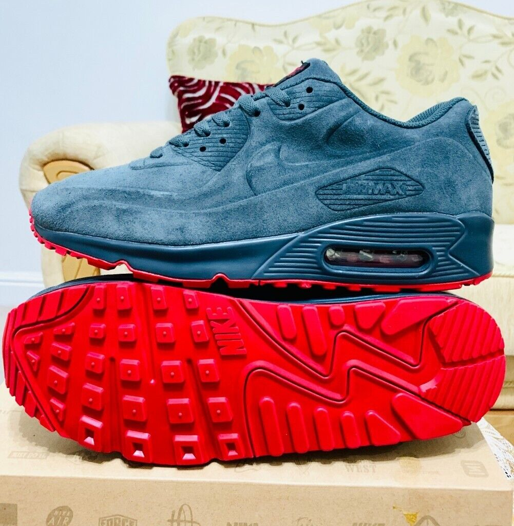 nike air max 90 hyperfuse grey and red suede all sizes inc delivery paypal x | in Hockley, West Midlands | Gumtree