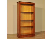 Attractive Simple Large Tall Vintage Yew Wood Floor Open Bookcase