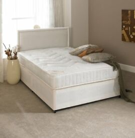 BRANDNEW BEDS Delivery Today 4ft6 Double Bed Mattress £89 with Headboard £109 Black Cream